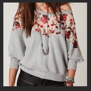 Free People Lace off the shoulder sweater small