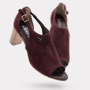 Anyi Lu Shoes - Open toe perforated city sandal - maroon suede 37