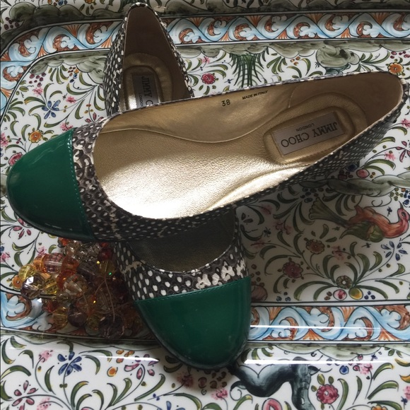 b111b03202e5 Jimmy Choo Shoes - Jimmy Choo Reptile   Green Patent Toe Flat Sz. 38