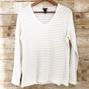 Ann Taylor Factory Tops - Ann Taylor Gold Cream Stripe Long Sleeve