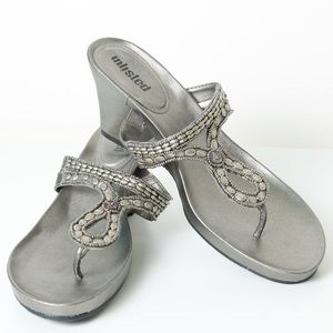 Unlisted Shoes - Unlisted Wedge Sandals Silver 7.5 M Beaded