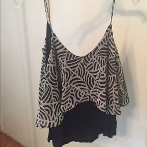 Sparkle & Fade Tops - Black and white pattern tank