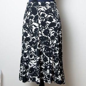 Studio M Dresses & Skirts - STUDIO M Black White Floral Skirt Lg Knee Length