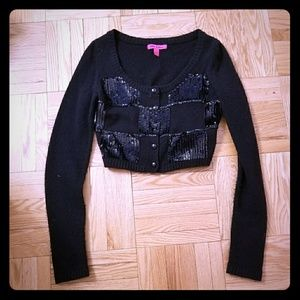 Betsey Johnson Sequin Cropped Sweater/Cardigan