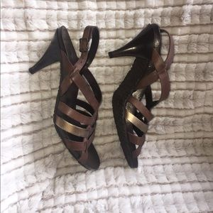 EUC BCBGirls Brown and Muted Gold Strappy Sandals