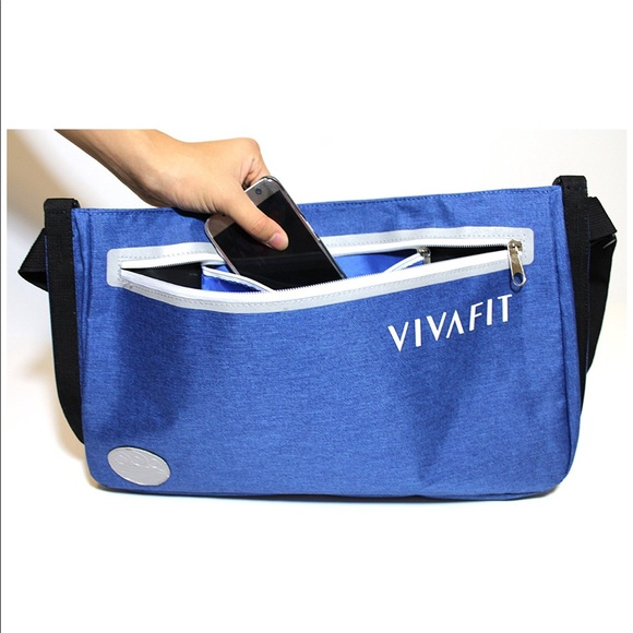 Vivafit Vivafit Yoga Mat Bag Crossbody Carrier Blue