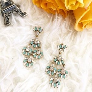 Jewelry - Teal leaf rhinestone statement earrings
