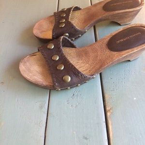 Banana Republic Brown Leather Studded Clog Sandals