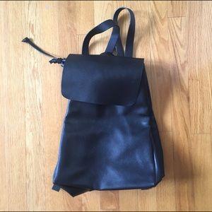 ZARA leather black drawstring backpack.      .