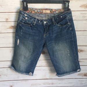 Paige Distressed Denim Bermuda Cut Off Shorts