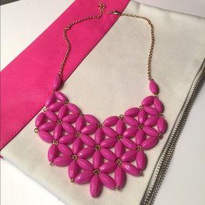 Pink beaded bib necklace