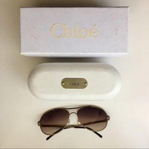 Chloe Brown & Gold Aviator Sunglasses