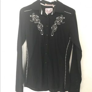 Roar Tops - Black embroidered shirt with gems