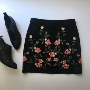 Topshop Floral Embroidered Canvas Mini Skirt