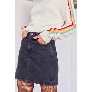 Vintage Black High Waisted Denim Skirt