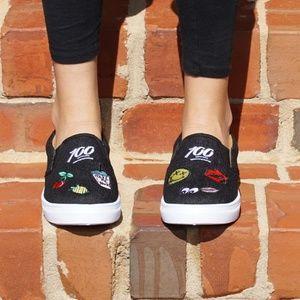 Black denim emoji patch sneakers pull on TRENDY
