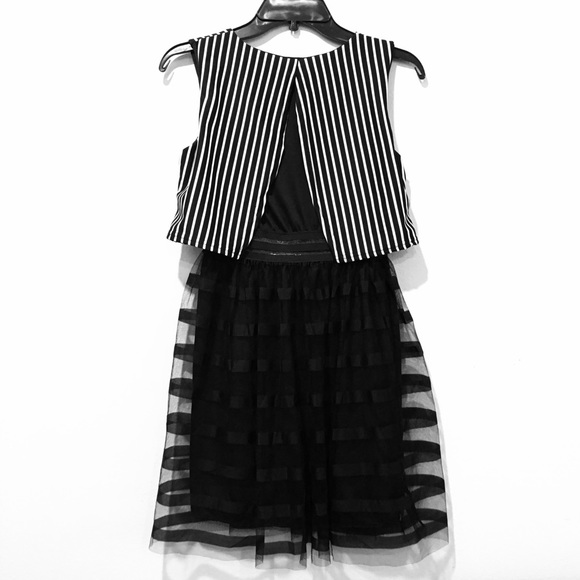 urban outfitters black and white vertical striped dress