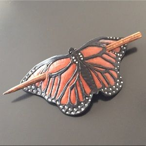 GemFOX Accessories - Handmade Tooled Leather Hair Slide Stick Butterfly