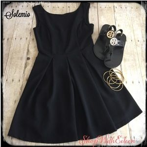 Solemio Black Skater Back Scoop Dress