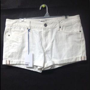 $129 PAIGE white denim shorts size 30