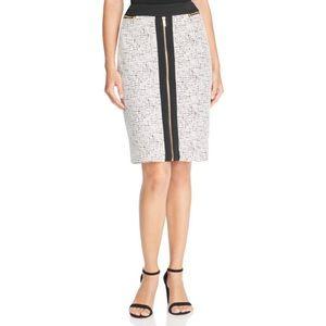 Calvin Klein Zip Front Jacquard Pencil Skirt
