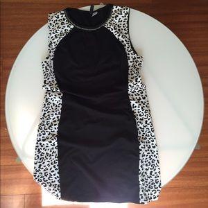 H&m divided bodycon dress black and white cheetah