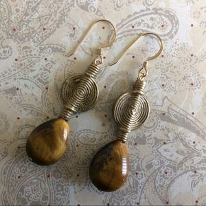 Tigereye Teardrops with African Brass Baoulye