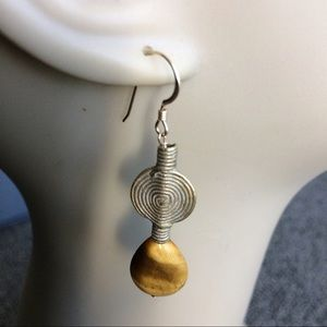 wirequeen jewelry Jewelry - Tigereye Teardrops with African Brass Baoulye