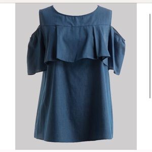 Tops - Cotton Denim Ruffle Trim Cold Shoulder Top