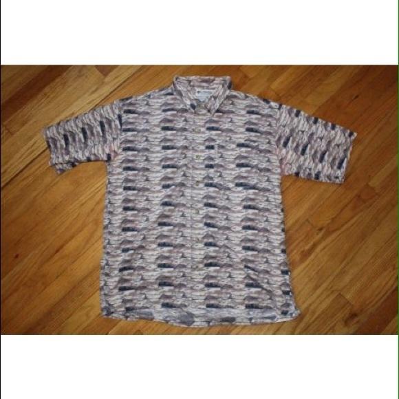 Columbia Columbia Short Sleeve Button Down Shirt Fish