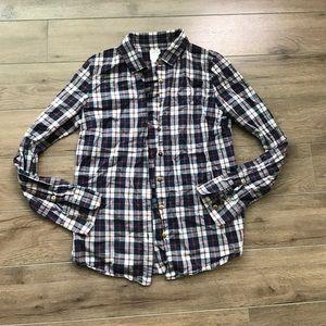 JCREW the perfect bottom down shirt Checks Plaid