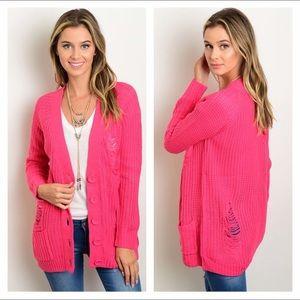 Sweaters - NEW fuchsia shredded cardigan