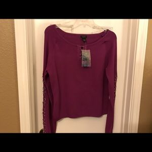 Que Tops - Que Purple Shirt Top with Silvertone Hardware NWT