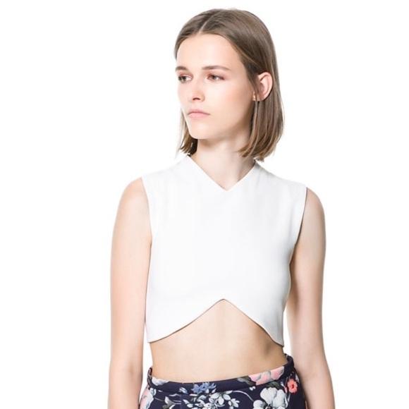 6614978d419fdb Zara Tops | Studio White Crop Top Nwt | Poshmark