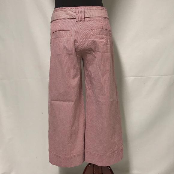 Wide Leg Belt Striped Pants
