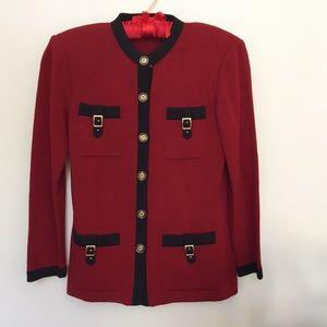 St. John Jackets & Blazers - St. John Knits Red and Black Jacket