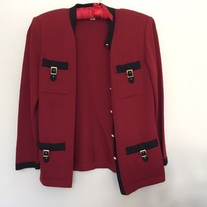 St. John Knits Red and Black Jacket
