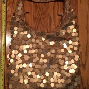 Handbags - Wow gold circle accents over tan embroidered tote