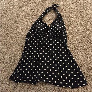 Other - Maternity black and white polka dot swim top