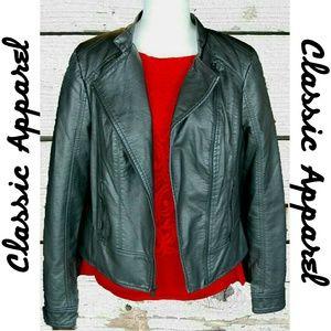 Black Rivet Jackets & Blazers - BLACK RIVET - FAUX LEATHER JACKET