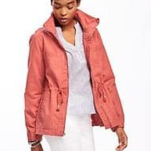 Old Navy Coral Twill Utility Jacket