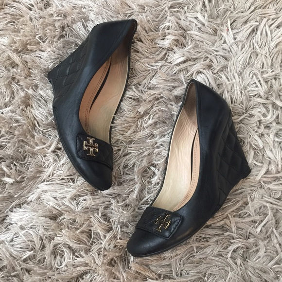 aa6b25b920df Tory Burch Shoes - Tory Burch  Leila  Black Quilted Wedges