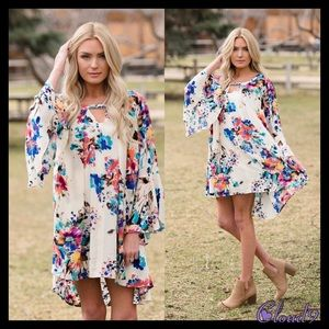 Cloud 9 Tops - Twisted Gypsy Floral Tunic Dress🍃