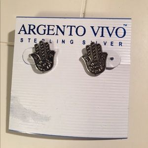 Argento Vivo Jewelry - Argento Vivo Sterling Silver Hamsa Hand Earrings