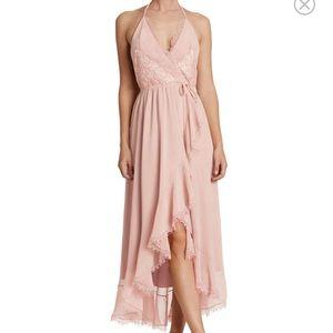 Chiffon Halter Wrap Midi Dress