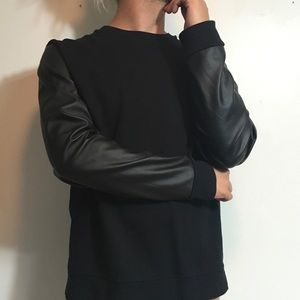 Topman Other - Topman faux leather sleeve shirt
