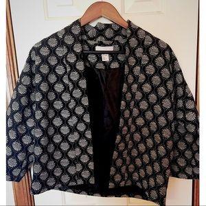 Polka dot structured blazer; navy blue and white