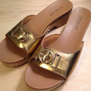 10 Crosby Derek Lam Shoes - Derek Lam Wood and Gold Leather Slides