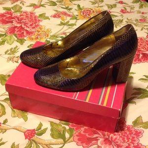 BCBGirls snakeskin stacked heel