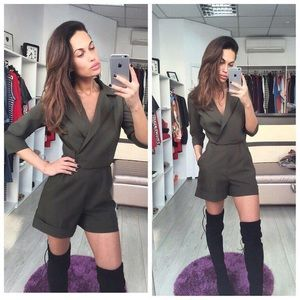 I'm all business. Army green romper